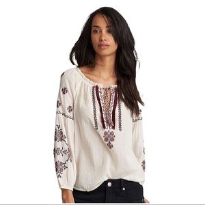AMERICAN EAGLE | Embroidered Peasant Blouse Top